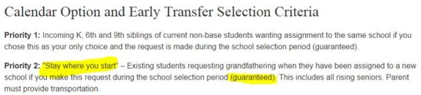 WCPSS School Selection Criteria