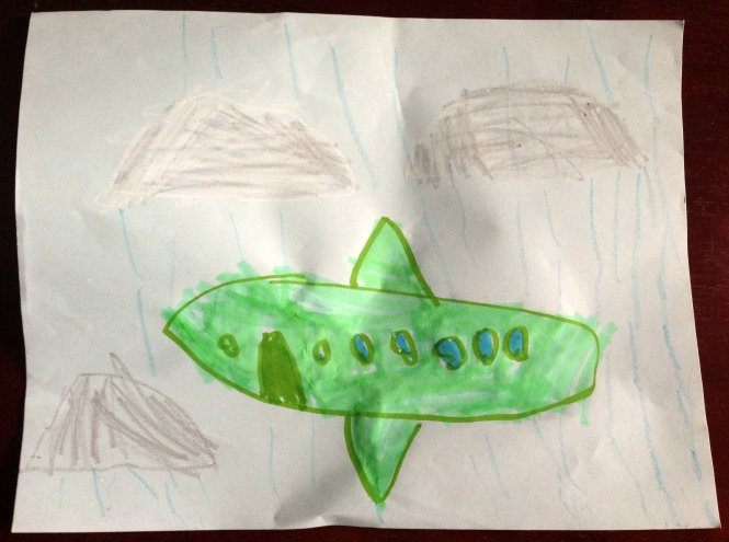 Child's drawing of an airplane